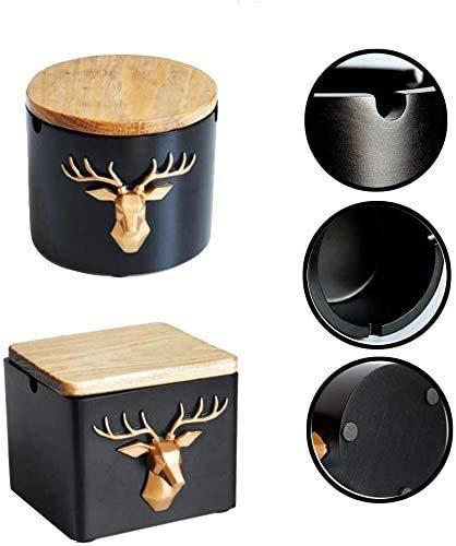 Ccgdgft Roodwild-kop-asbak hars Nordic Retro creatieve persoonlijke salontafel Crafts Decoratie woonkamer Office Bar Trend eenvoudige meubels rond vierkant, zwart, met deksel