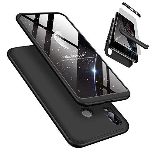 Handyhülle für Huawei Honor Play, LaiXin Huawei Honor Play Hülle mit Tempered Glas Schutzglas 360 Grad Hülle Schutzhülle PC Plastik Cover Kratzfeste Stoßdämpfende Bumper - Schwarz