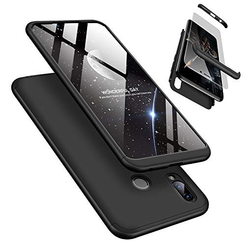Funda Huawei Honor Play 360°Caja Caso + Vidrio Templado Laixin 3 in 1 Carcasa Todo Incluido Anti-Scratch Protectora de teléfono Case Cover para Huawei Honor Play (Negro)