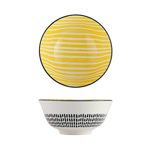 LIXUE Grande salade de fruits Céréales Bol Soupe Ramen Pasta Mixing Bol de service Belle créative peint à la main en céramique Vaisselle Four micro-ondes Safe 6 pouces (Color : Yellow)