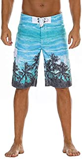 Nonwe Men's Quick Dry Wave Pattern with Mesh Lining Board Shorts
