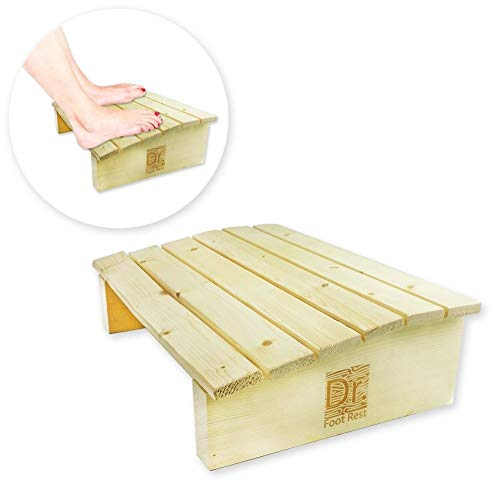 Comfecto Dr. Foot Rest Wood Ergonomic Wood Foot Stool Under Desk Foot Rest with 17.7' Width for Office Home to Relieve Tendon Pains and Improve Blood Circulation