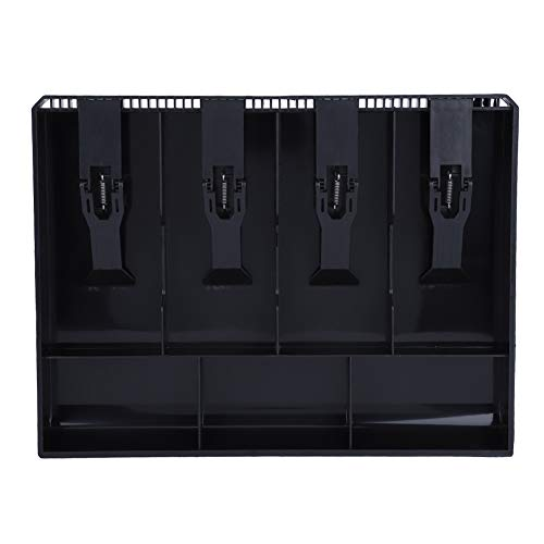 Caja registradora ABS con 4 billetes y 3 monedas Caja de almacenamiento de dinero para uso comercial(negro)