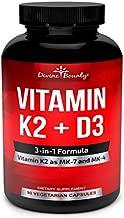 Vitamin K2 (MK7 & MK4) with D3 Supplement - Vitamin K & D as MK-7 100mcg, MK-4 500mcg, and 5000 IU Vitamin D3-3-in-1 Formula for Bone and Heart Support - 90 Non-GMO Vegetarian Capsules