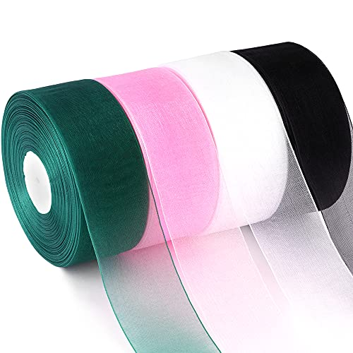 Sheer Chiffon Ribbon 4 Rolls, Homozat 1-1/2 inch Organza Ribbon 200 Yards (50 Yards Each) with Black,Pink,White, Green Ribbons for Wedding Gift Wrapping Bouquets Bow Wreath