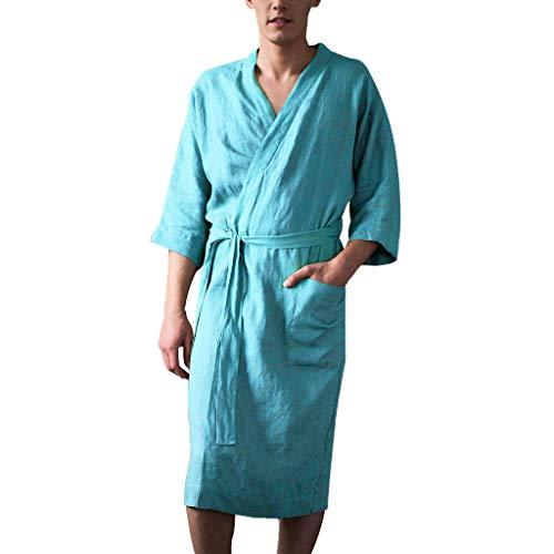 Rosennie Herren Pyjamas Leinen Robe Nightwear Schlafanzug Kurz Herren Bademantel Saunamantel Einfarbig Lange Bademantel Nachtwäsche Kimono Sleepwear Startseite Kleidung mit Gürtel (4XL, Blau)