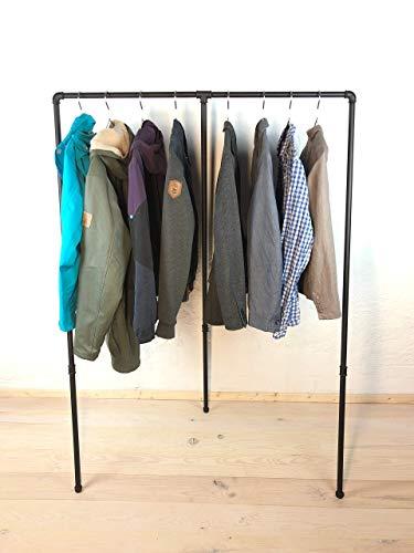 Kleiderständer 110cm Breite x 160cm Höhe, schwarz pulverbeschichtet, Garderobe Industrial Design, Kleiderstange für Kleiderbügel