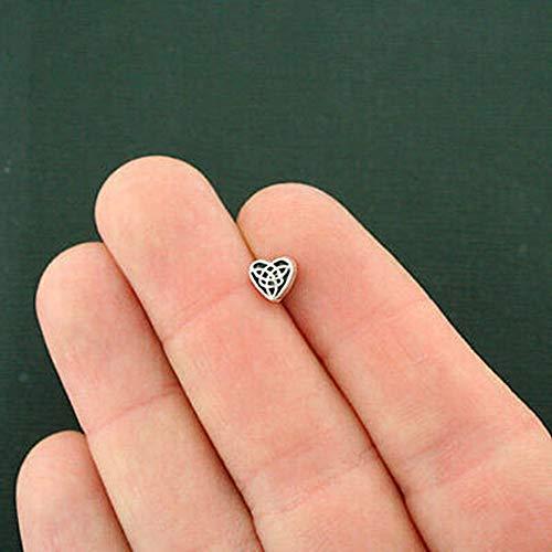 SPK 50 Pcs Celtic Heart Spacer Beads 2 Sided 6.5mm x 6.1mm for Pendant Bracelet DIY Jewelry Making