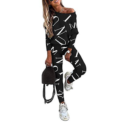 Chandal Conjunto para Mujer Invierno Otoño Casual Conjuntos Deportivos, Moda Manga Larga Pullover con Palabra impresa Sudadera Tops + Pantalones Largo 2pcs Tallas Grandes