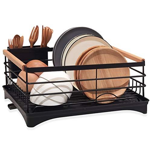 BRIAN & DANY Escurridor de platos y vasos, escurreplatos con mango de madera, 42 x 30 x 19 cm, Negro