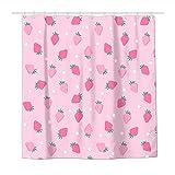 Duschvorhang, Erdbeere, gepunktet, wasserdicht, Polyestergewebe, Duschvorhänge für Badezimmer, mit 12 langlebigen Kunststoffhaken, 183 x 183 cm