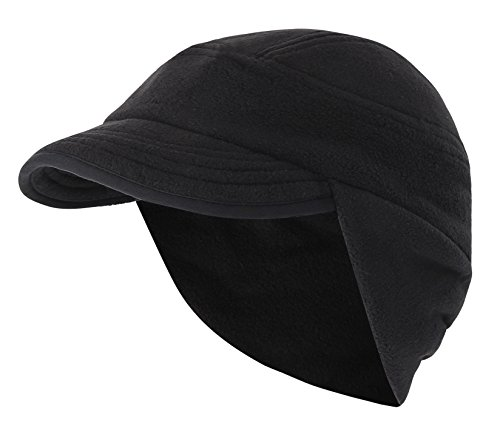 Home Prefer Mens Winter Hat Knit Fleece Beanie Hat with Earflaps Warm Daily Skull Cap with Visor Black