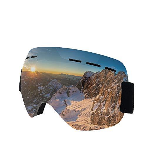 rainday Skibrille, OTG rahmenlose Schneebrille, beschlagfrei, blendfrei, austauschbare Gläser, 100% UV400-Schutz, Schneebrille für Damen und Herren
