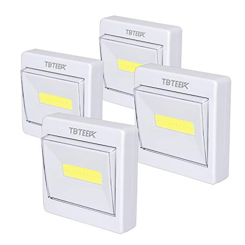 Closet Light, Super Bright, Battery Operated, Stick Anywhere, 200 LM Cob Led Light Switch Nightlight, Tap Lights for Closet, Shed, Attic, Emergency (4 Pack)