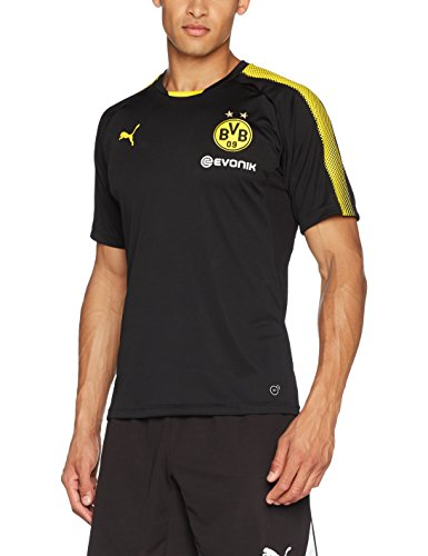 PUMA Herren BVB Training Jersey with Sponsor Logo T-Shirt, Black-Cyber Yellow, L