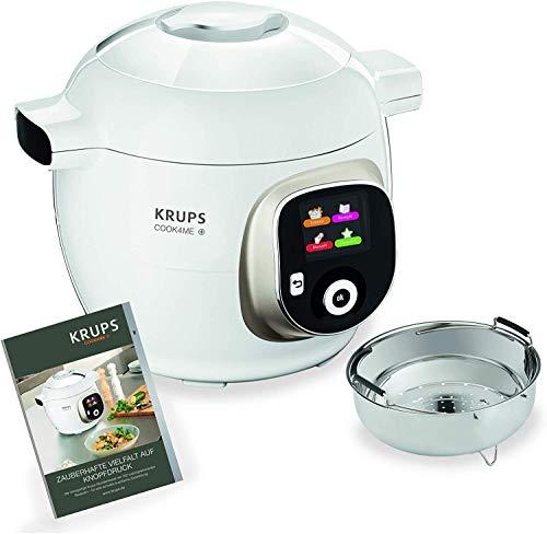 Krups Cook4Me+ CZ7101 Multikocher (Garen unter Druck für schnelle und frische Gerichte, 6 Liter Fassungsvermögen, 1.600 Watt, inkl. Rezeptbuch) weiß/grau & XF552D Prep und Cook Dampfgaraufsatz