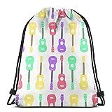 Yuanmeiju Colorful Ukulele Pattern 3D Print Drawstring Backpack Rucksack Shoulder Bags Bolsa de Gimnasio For Adult 17'X14'