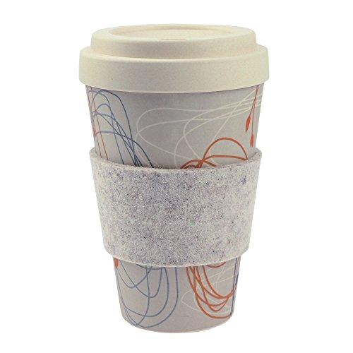 ebos Bambus Coffee-to-Go-Becher | Schraubdeckel, Griffring aus Wollfilz, Kaffee-Becher, Trink-Becher, wiederverwendbar, umweltfreundlich, spülmaschinengeeignet, versch. Designs (Kringel und Blüten)