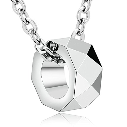 Daesar Joyería Collar Acero Inoxidable de Hombre Mujer, Anillo Ring Pequeño Plata en Forma de Tuerca Redonda