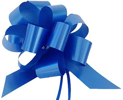 Confezione da 50 coccarde autotiranti blu gran fiocco autotirante da antenna specchietto auto, nastro da 5 cm, lunghezza 150 cm per feste, diametro coccarda 16 cm, feste, matrimonio, eventi