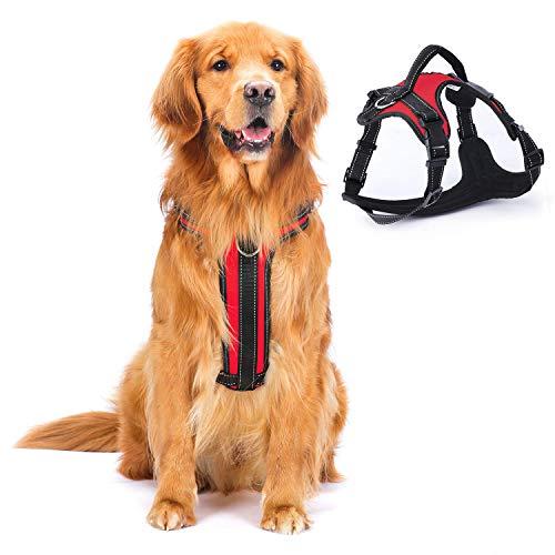 Arnés para perro, arnés para animales de compañía sin tracción con pinzas para correa, perro acolchado suave ajustable, chaleco reflectante para mascotas sin estrangulación (M, rojo)