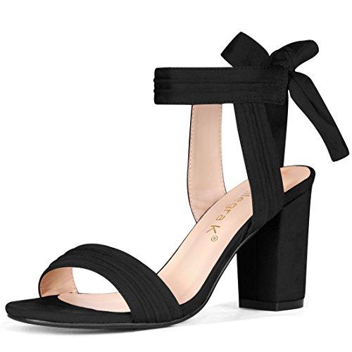 Allegra K Women's Open Toe Ankle Tie Back Chunky Heel Black Sandals - 11 M US