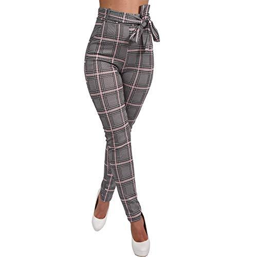 P18540 - Mallas de cintura alta para mujer, diseño de cuadros, elást