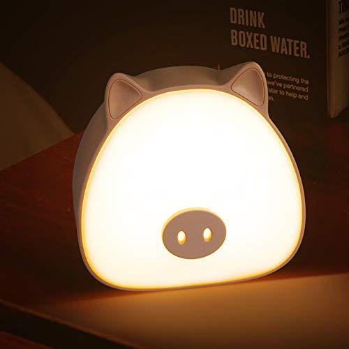 HANGOU Luz de Noche LED Lámpara de luz de Noche de Cerdo Portátil con Control Táctil Luz de Dibujos Animados Lámpara Decorativa de Dormitorio Recargable USB Regalo para Niños
