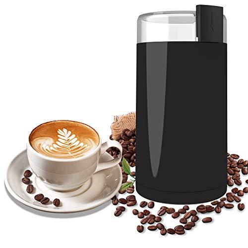 molinillo café, Wancle molinillo de semillas molinillo de café electricos para Granos de Café, Hierbas Medicinales, Nueces, Cereales, 150 W, Negro