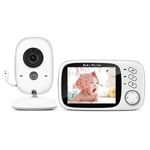 SJTL Vigilabebés con cámara, Monitor de vídeo Inteligente con Pantalla Digital LCD de 3,2 Pulgadas, inalámbrico, visión Nocturna, Despertador, Control de Temperatura, interfono, Recargable