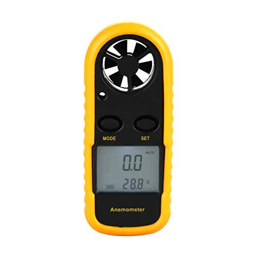 Socobeta Anemómetro, portátil duradero y práctico para llevar el medidor de velocidad del viento digital para interiores y exteriores