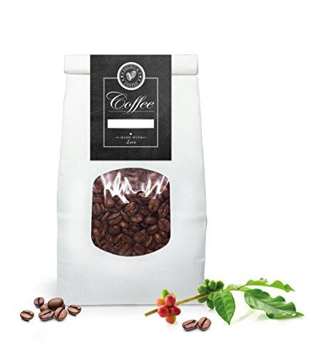 4 PAPIERTÜTEN SET MIT FENSTER weiß: 4 Bio Blockbeutel weiß mit Verschluss Maße 11,5 x 24 cm, der Boden misst: 7,0 x 11,5 cm + 4 BANDEROLEN GROß mit Kaffeebohne