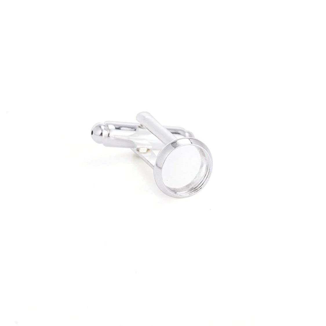 Yumei Jewelry 20 Pcs 8mm Bezel Round Shaped Silver Plated Copper Cuff Link Blanks Backs for Jewelry Findings pj22067268966360