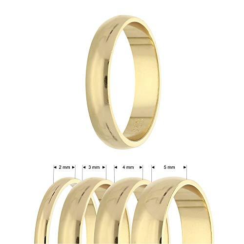 Treuheld® Ring aus 925 Sterling Silber | Gold | Ringgröße 52 | Breite 2mm | Damen & Herren | glänzend | Freundschaftsring Verlobungsring Ehering