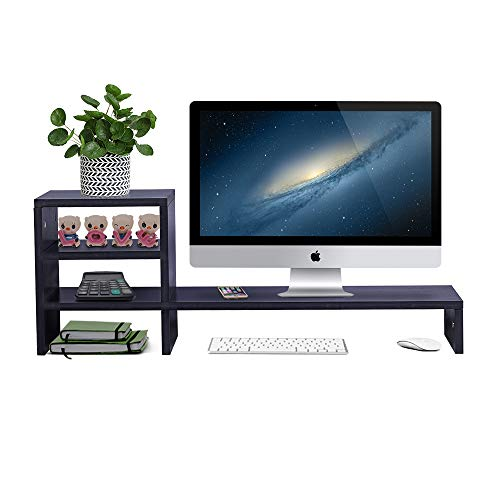 Wood Monitor Stand Riser with 2-Tier Storage Shelf 31.5 inch Desktop Organizer Computer Laptop PC Printer Telephone Stand for Office Dorm Home, Space Saving Black