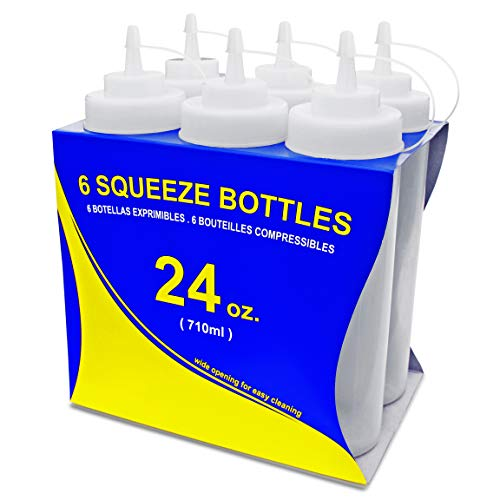 New Star Foodservice 26238 Squeeze Bottles, Plastic, Wide Mouth, 24 oz, Clear, Pack of 6