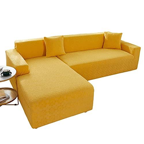 Funda para sofá en Forma de L Elástica, 2 Piezas Fundas de Sofá Chaise Longue Jacquard Lavable Antideslizante Protector de Muebles para Sala,Yellow,2+2 Seater