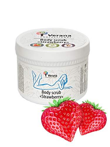 Verana Exfoliación Corporal Fresa, Producto Orgánico Para Todos Los Tipos De Piel, Tratamiento Humicante E Hidratante, Suaviza las Arrugas Finas, Aromaterapia 300 G