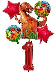 DIWULI, stor dinosaurie ballonguppsättning, 1 x XXL dino ballong + XXL nummer 1 nummer ballong + 2 x röd stjärna ballong + 2 x dinofieballonger 1:a födelsedagen, barns födelsedagspojke, motto fest, dekoration