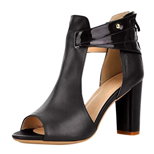 YWLINK Damen Klassisch Zipper Sandalen Stiletto High Heel Kurze Stiefel Elegant Sommer Schuhe(Schwarz,EU 37.5)