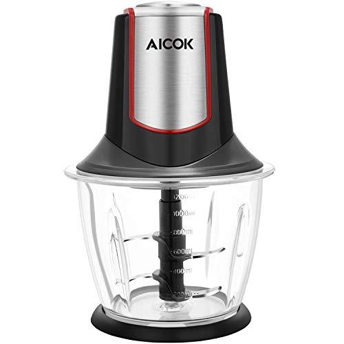 Aicok Zerkleinerer elektrisch Glasbehälter 1,2L BPA Frei, Multizerkleinerer 4 Edelstahl-Messer, Universalzerkleinerer, Zwiebelschneider, 300W, Schwarz