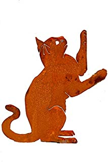 Elegant Garden Design Upright Playing Cat, Steel Silhouette with Rusty Patina