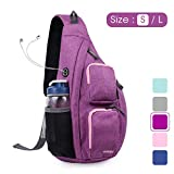 WANDF Sling Bag One Strap Backpack Travel Crossbody Backpack Water-Resistant (S-Purple, Small)