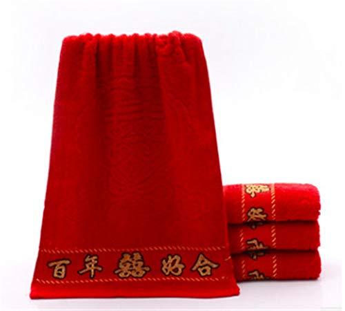 ZXF Toalla de baño de algodón jacquard, color rojo, para novia y novio, de algodón suave, color azul
