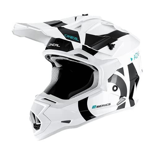 O'NEAL | Casco de Motocross | MX Enduro | Carcasa ABS, Estándar de Seguridad ECE 22.05, Ventilación para una óptima ventilación y refrigeración | Casco 2SRS Slick | Adultos | Blanco Negro | Talla M