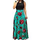 LEEDY Mujer Verano Cuello Redondo Sin Mangas Cintura Estampado Floral Costura Falda De Playa Vestido De Fiesta Informal