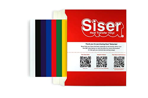 SISER HTV Easyweed - Vinilo termoadhesivo para tejidos, 12 hojas termoadhesivas de 30 x 30 cm para personalizar tus camisetas - Colores base
