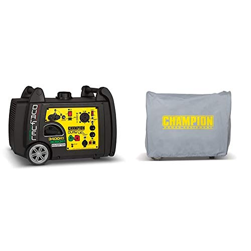 Champion 3400-Watt Dual Fuel RV Ready Portable Inverter Generator with Electric Start & Champion Weather-Resistant Storage Cover for 3100-Watt or Higher Inverter Generators