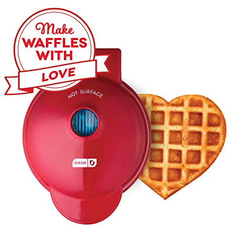 Dash DMW001HR Mini Waffle Maker Machine for Individual Portions, Paninis, Hash browns, Chaffles, Other On The Go Breakfast, Lunch, or Snacks, Red Heart
