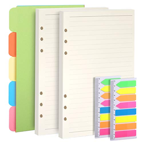 Teenitor 2 Pack A5 Refills Planner Inserts Lined Paper + 5 Color Subject Dividers + 320 Pcs Note Flags Index Tabs, 6-Ring Ruled Diary Refillable Pages for filofax, Card Dividers & PET Translucent Tabs
